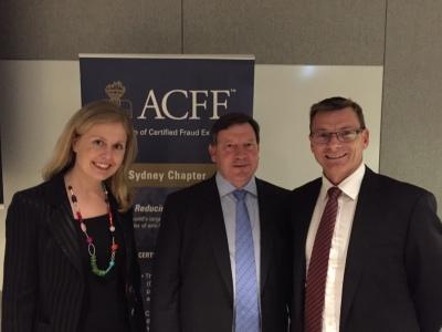 Ms Newton and Mr Robertson with ACFE Sydney's Mr Wildman