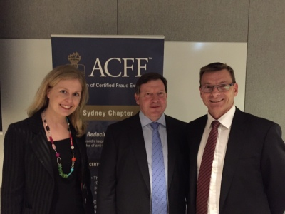 Ms Newton and Mr Robertson with ACFE Sydney's Mr Wildman